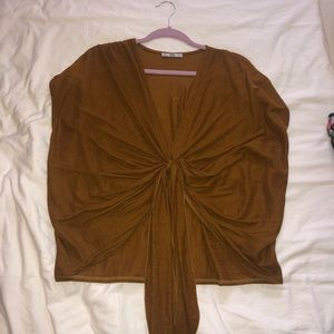 Zara Brown Tie in the Front Blouse